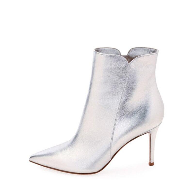 Argent blanc femmes bottines bout pointu talons hauts court Chelsea bottes miroir femmes chaussures femme Sexy Stiletto bottes femmes