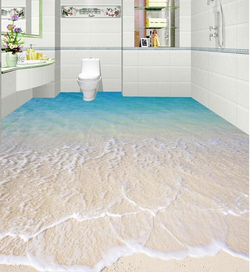 Photo wallpaper mural floor 3D wallpaper floor for living room Water plant 3D floor tiles Home Decoration free shipping custom self adhesive home decoration floor living room bedroom bathroom wallpaper mural dolphin ocean 3d floor