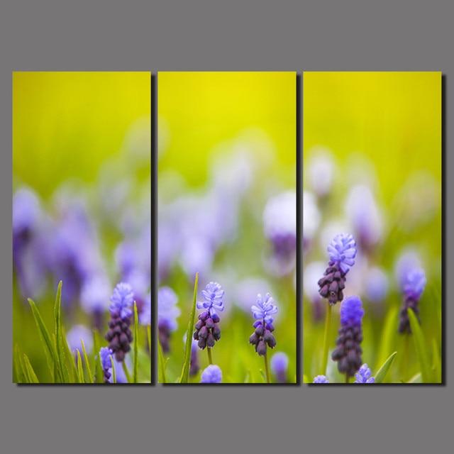 3 Pcs Big Size Flowers Decoration Purple Canvas printed Painting on ...