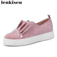Lenkisen Ruffle folds natural leather round toe slip on low heels pearls beauty lady sweet shopping women vulcanized shoes L18
