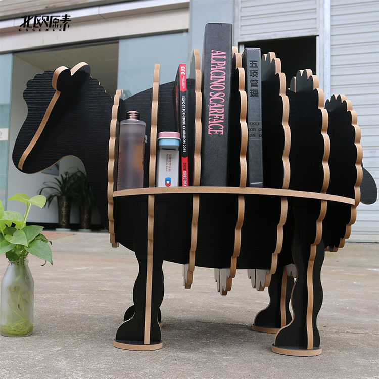 Scandinavian creative sheep animal shaped wooden shelf bookshelf exclusive home decorations ornaments,hotel restaurant bar decor
