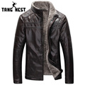 TANGNEST Winter Warm 2017 New Design Fashion Fur Inside PU Leather Jacket Thick 4 Colors Men's Leather Jacket MWP359