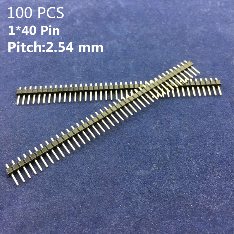 100 Pcs High Quality 1* 40 pin Pitch 2.54 mm Single Row Copper Straight Needle Male Breakable Pin Header