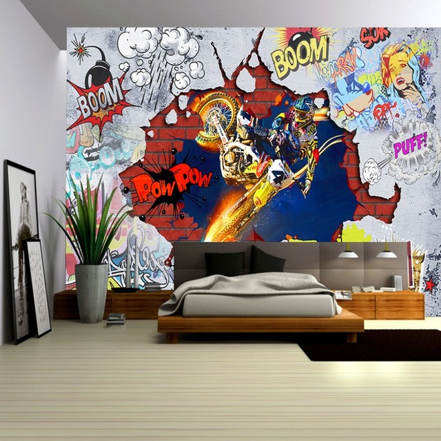 Custom photo wallpaper 3d stereo wallpaper cool motorcycle art graffiti wall living room lobby wallpaper custom