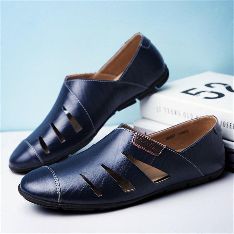 47 Malha Homens Macia Ue Flats Casuais 37 Sapatos Masculinos Cortar marrom De Tamanho Mocassins Preto Sobre Deslizar Aa11621 Sola azul Couro wASw1