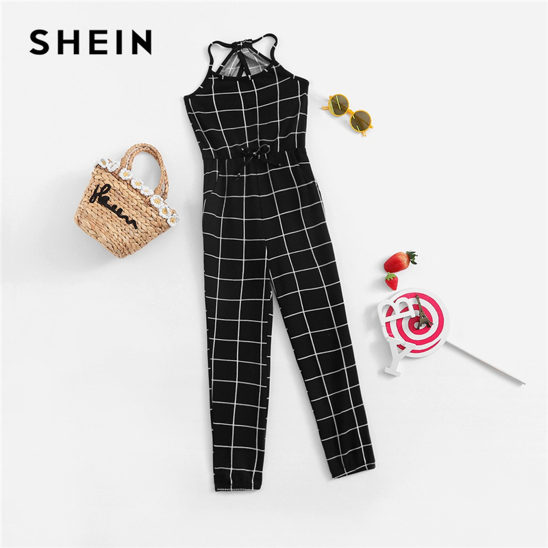 SHEIN Girls Black And White Plaid Drawstring Waist Grid Jumpsuit Children 2019 Spring Fashion Sleeveless Casual Kids Jumpsuits zipper pu pocket drawstring waist jogger pants