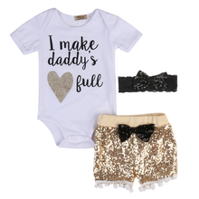 2017 Summer Babies Girl Sequins Clothing Set 3 Pcs Toddler Newborn Baby Girl Clothes Cotton Bodysuit Tops+Shinning Shorts Outfit