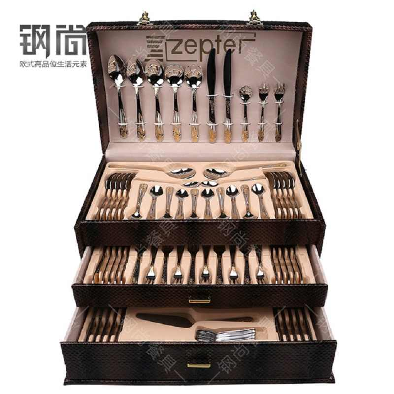 86PCS Gift Box 18/10 Multifunctional Luxury Gold Inlay Stainless Steel Cutlery Set HomeTableware