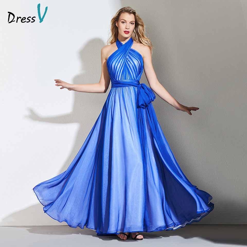 Dressv Party-Gown Evening Elegant Long Sleeveless Sashes HALTER A-Line Floor-Length Customize