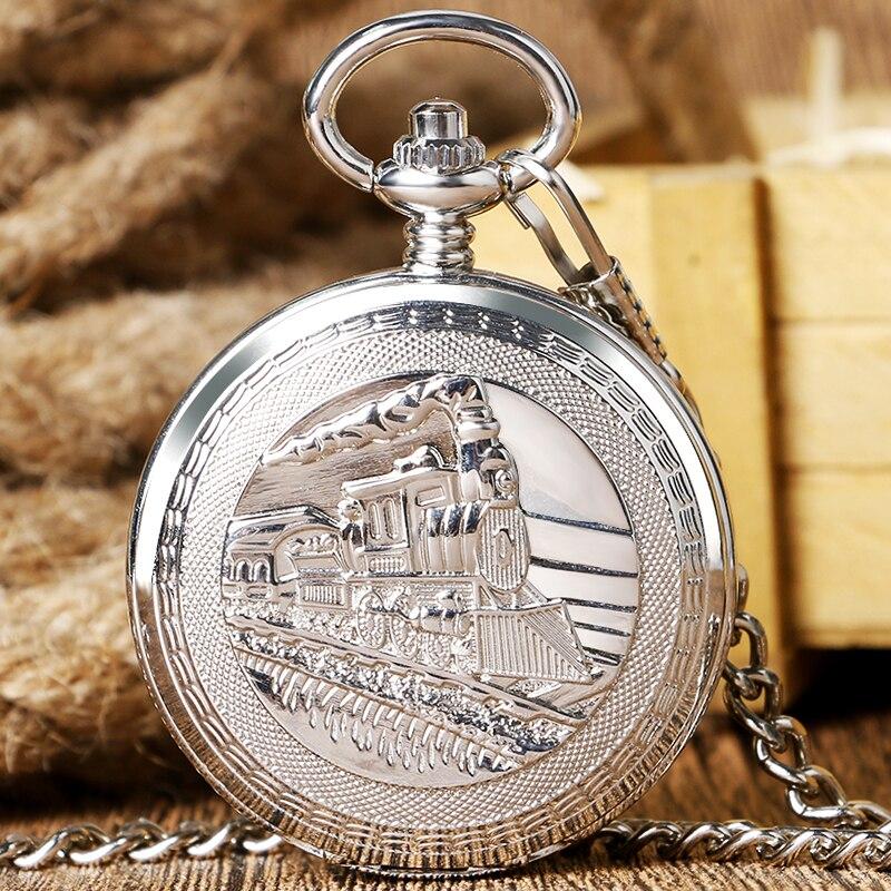 Silver Retro Train Locomotive Engine Design Pocket Watch font b Mechanical b font Pocket Watch with