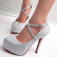 2017 phụ nữ cao gót prom giày cưới lady nền tảng tinh bạc Long Lanh rhinestone giày cô dâu bên gót chân mỏng bơm 118