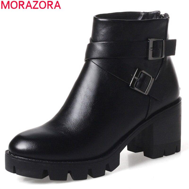 MORAZORA schwarz braun neue kommen frauen stiefel zipper schnalle plattform damen stiefeletten runde kappe herbst winter stiefel-in Knöchel-Boots aus Schuhe bei AliExpress - 11.11_Doppel-11Tag der Singles 1