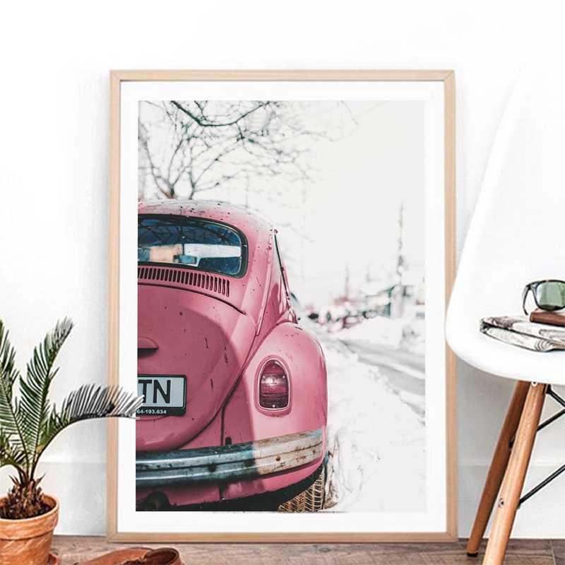 Винтажный плакат с изображением автомобиля печать для VW Beetle стены искусства фотографии, ретро автомобиль Холст Картина Настенная картина для настенное уркашение для гостинной