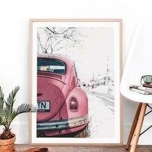 Vintage coche cartel impresión Rosa autobús pared arte fotografía coche Retro lienzo de pintura de la pared foto decoración para las paredes del salón