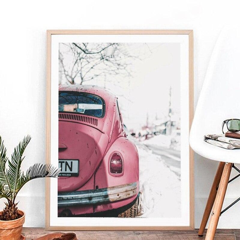 Vintage coche cartel impresión para VW escarabajo pared arte fotografía coche Retro lienzo de pintura de la pared foto decoración para las paredes del salón Nuevo ramo Artificial de hojas de palma Tropical plantas de simulación hogar balcón jardín decoración de paisaje Accesorios