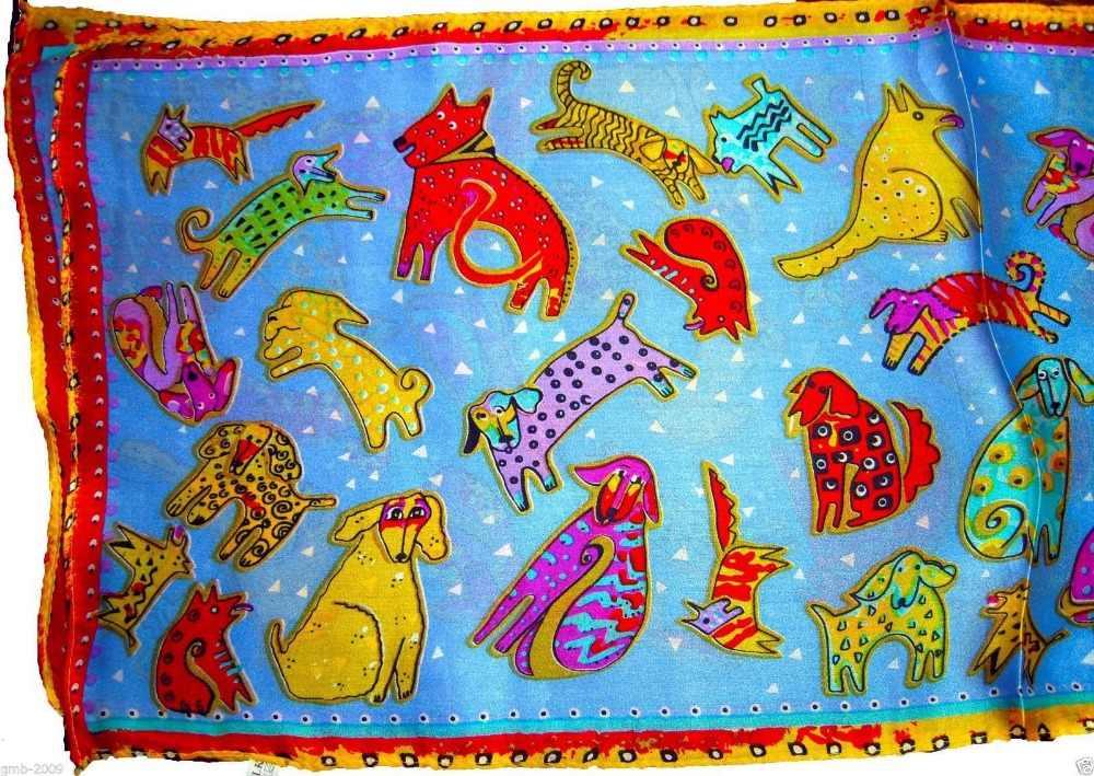 """50 """"x 10"""" 100%ผ้าไหมสีฟ้าสีแดงสีเหลืองสีเขียวขุ่นสัตว์มีความสุขลูกสุนัขสุนัขยาวผ้าคลุมไหล่ผ้าพันคอ"""
