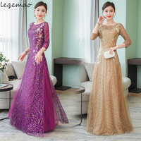 2019 Summer Woman Dress Gold Silk Veil Dresses Round Collar Purple And Gold Evening Long Dress Elegant Vestidos Robe De Soiree S