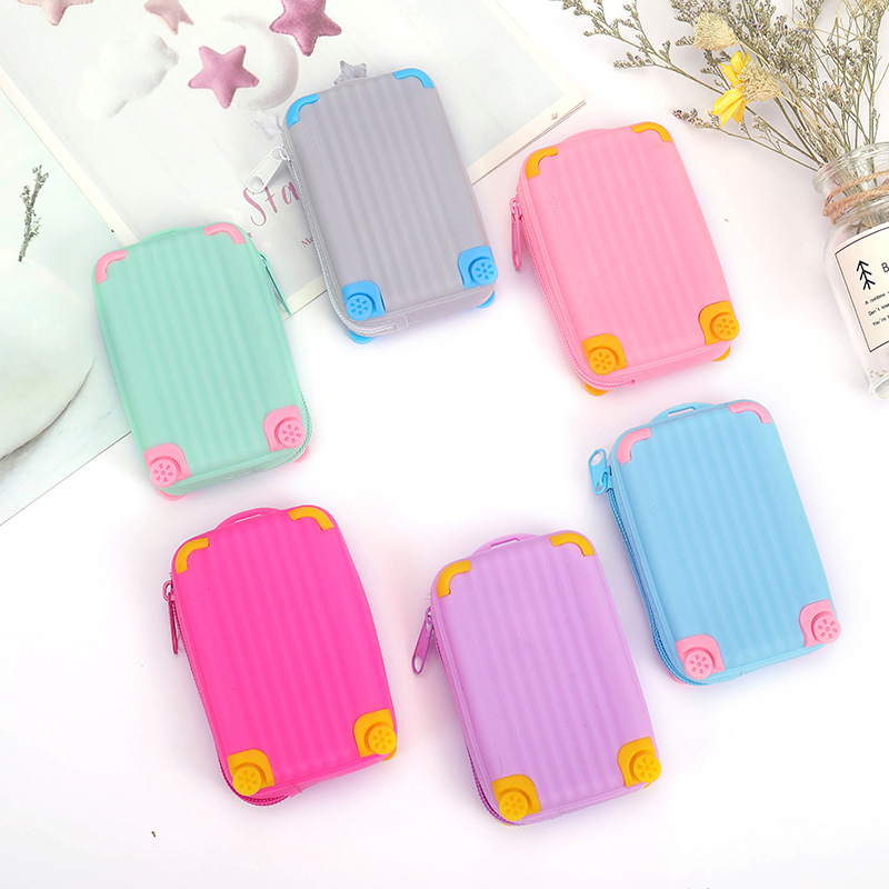 Silicone large capacity coin purse children suitcase card bag waterproof small fresh soft zipper  storage bag LQ047