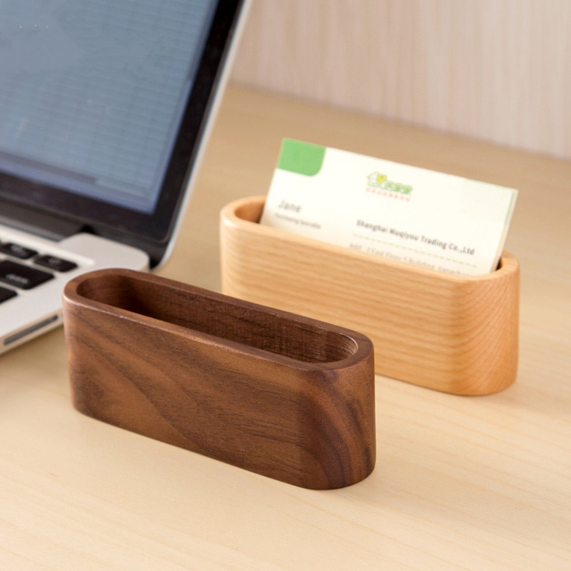 Creative wood desk business card storage box simple business card seats men and women common business card holder