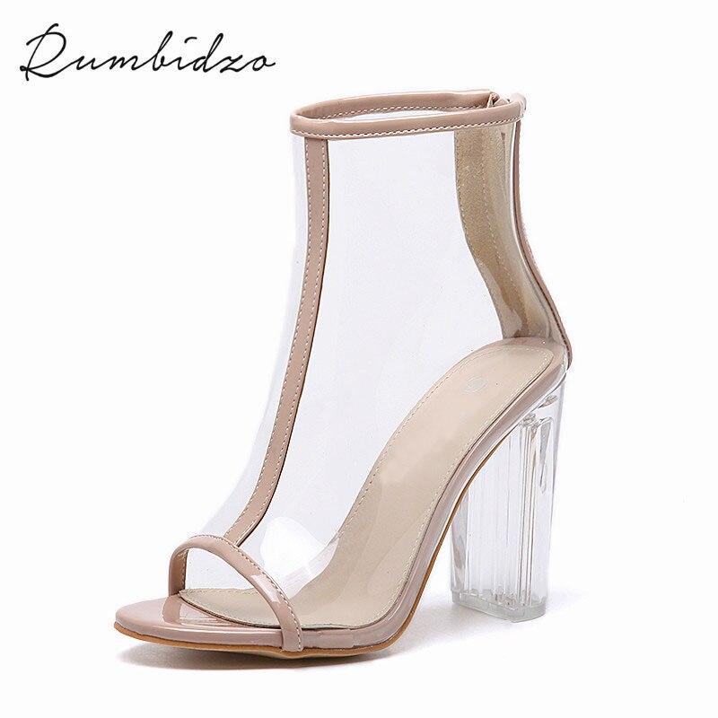 ФОТО Rumbidzo 2017 Sexy PVC Transparent Gladiator Sandals Peep Toe Shoes Clear Chunky Heels Ankle Boots For Women Sandalias Mujer