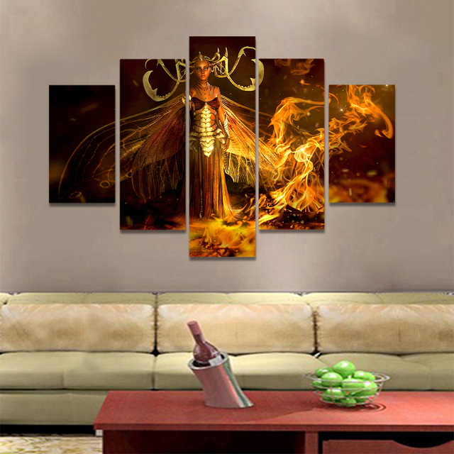 Unframed Canvas Art Painting Gothic Woman With Wings Flame