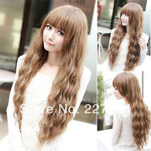 New Womens Long Wavy Curly Hair Full Wigs Cosplay Party Dress Wig Light Brown