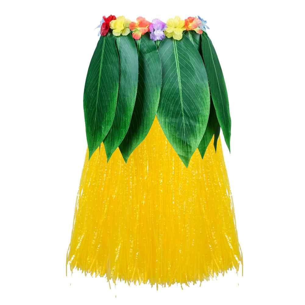 adbfd0a3 1PCS Hawaiian Costume DIY Women Grass Skirts Hula Skirt With Flower Ladies  Dress Up Game Cheerleaders