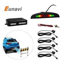 Eunavi 1Set Car LED Parking Sensor Kit Display 4 Sensors for all cars Reverse Assistance Backup Radar Monitor System