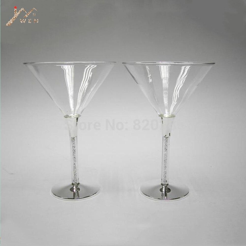 Livraison gratuite argent plaqué verre à martini, champagne en verre avec 155 pièces zircon, pour des mariages ou des fêtes