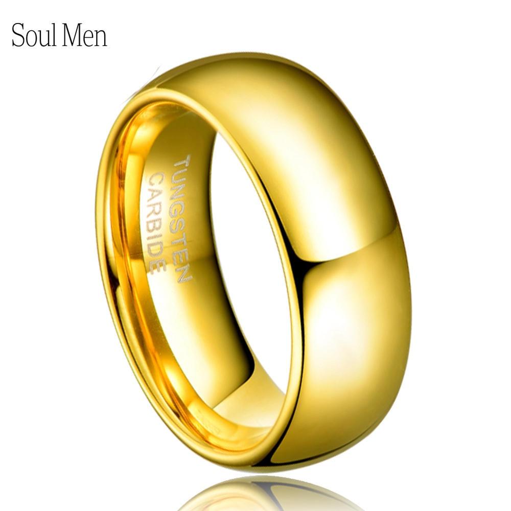 Cincin ulang tahun klasik lelaki lelaki 8mm emas warna perikatan tungsten perkahwinan band penglibatan tiada batu saiz Amerika Syarikat 4-15 TU003R
