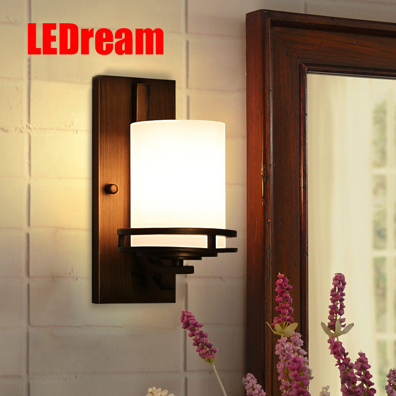 American country, wrought iron wall lamp, wall lamp in the bedroom porch corridor lamp wall lamp in the kitchen american creative fashion led the study bedroom mirror before the long arm of the head of a bed wall lamp wrought iron long arm