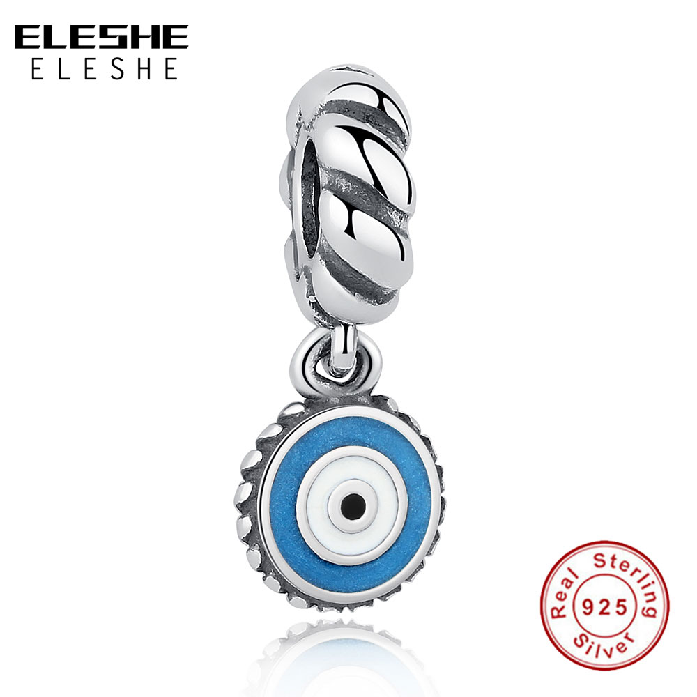ELESHE Fashion European 925 Sterling Silver Turkish Eye Pendant Charm Fit Original  Charm Bracelet for Women DIY Jewelry