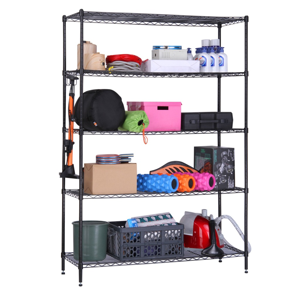 Langria 5 tier black heavy duty extra large garage kitchen wire shelving unit storage organization rack with adjustable feet in storage holders racks from