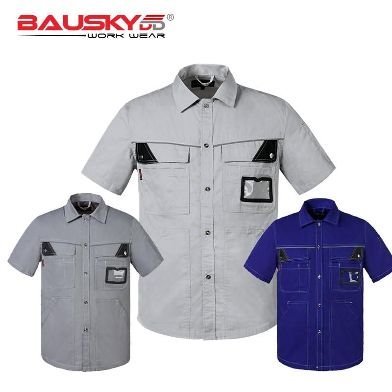 Bauskydd Work Wear Men Women Summer Work Shirt Short Sleeves With C Big Size Dark Blue Grey