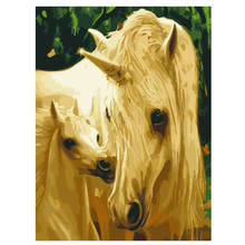 Diy Canvas Painting For Home Decoration,Painting By Number 40x50cm,Horse Family Paint Kits