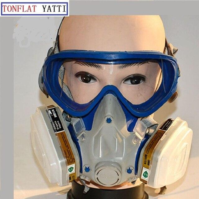 Masque à gaz Avec Lunettes Plein visage De Protection Masque Abti-Poussière  de Peinture Chimique 966a9fac2d46
