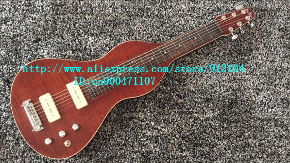 new special shape LP electric guitar with sticking tiger stripes mahogany body in red+free shipping  JT-38