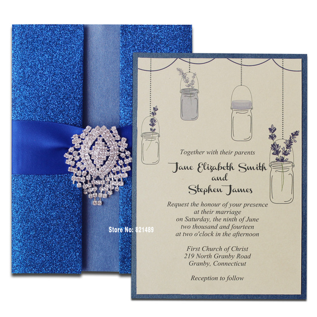 Royal Blue Wedding Invitation Shimmer Card For Pack Of