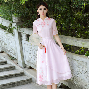 Image 4 - High Quality Explosions Leisure Print  Retro matching  Dresses Women  Summer Casual  Dress