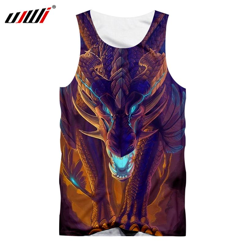 UJWI Brown Tanks Men Cool Print Horn SKull 3d Tanktop Man Singlets Male Bodybuilding Fitness Sleeveless waistco Quick Dry Shirts in Tank Tops from Men 39 s Clothing