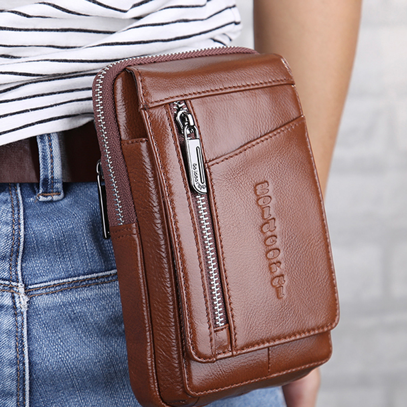 Genuine Leather Waist Belt Bags Men Small Fanny Pack Phone Pouch Wallet Bag Travel Shoulder Messenger Crossbody Bags For Male yiang 2018 genuine leather bags men high quality messenger bags small travel crossbody shoulder bag small phone pouch for men
