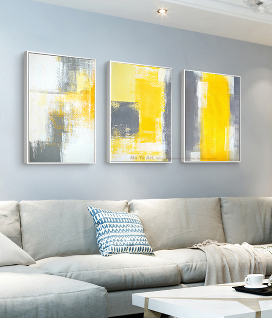 Amazing MUYA 3 Piece Canvas Painting Abstract Oil Painting Handmade Bright Yellow  Grey Wall Art Canvas Wall