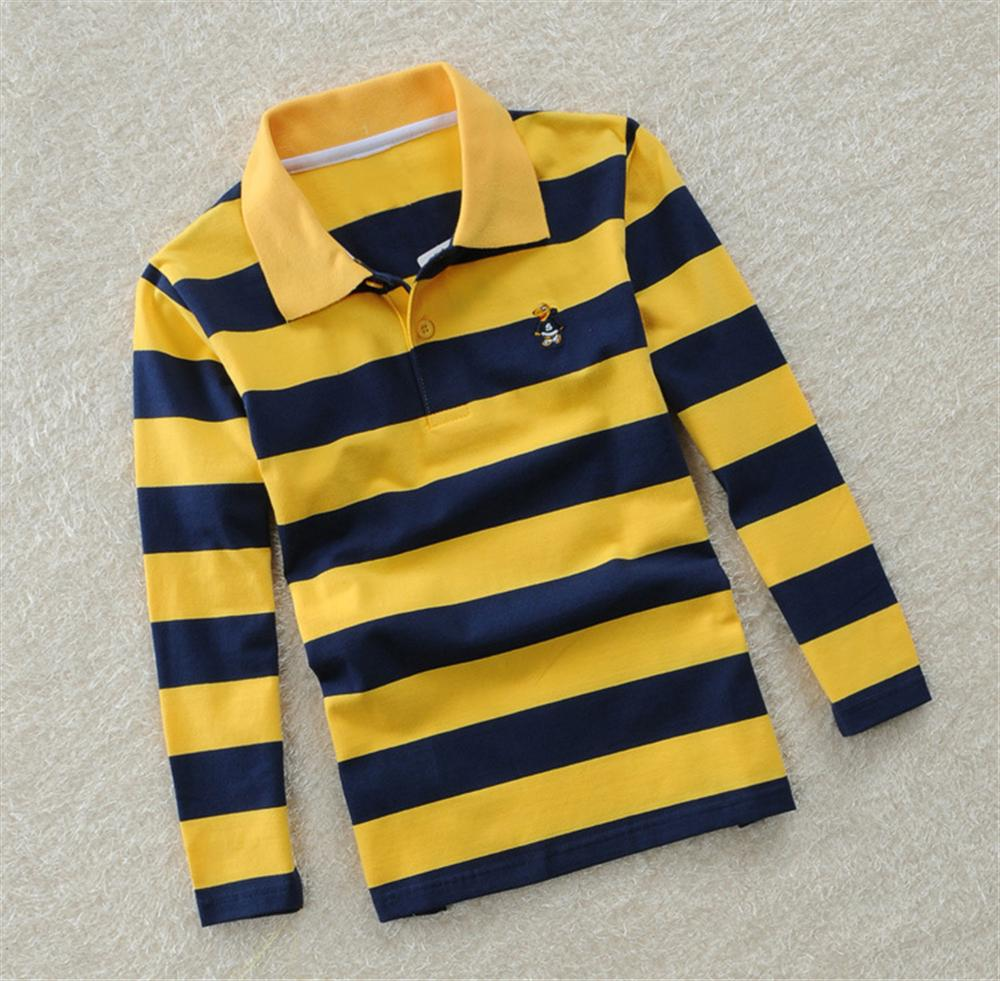 Spring Fall Boys Long Sleeve Shirt Kids Tops Striped Polo Shirt Breathable Tees Clothes 3 4 5 6 7 Years Children Cotton Clothing chic stand collar 3 4 sleeve striped shirt dress for women