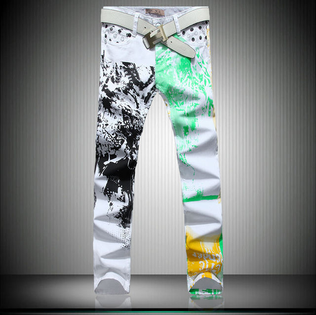 2015 Fashion Leisure Men's Printing Jeans Colored Washing Attractive Scrawl White Pants Size 28-36 Free Shipping