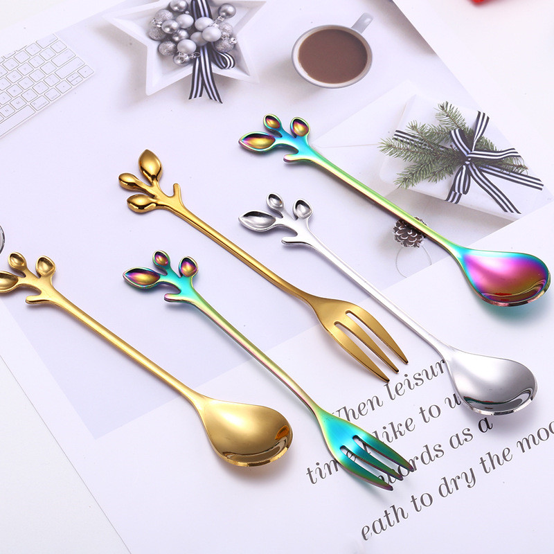 Hot Sale Novelty Leaf Shape Coffee Spoon Thick Stainless Steel Dessert Snack Scoop Fork Teaspoon Kitchen Accessories