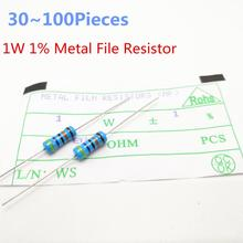 30~100Pieces/lot 1W 4.7ohm 1% Radial DIP Metal Film Axial Resistors 4.7 ohm 1W