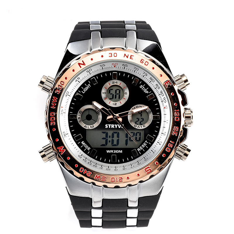 Branded Stryve S8002 Relojs Male Big Face Digital Quartz Dual Movement Watches Men 3ATM Waterproof Mens Wristwatches MilitaryBranded Stryve S8002 Relojs Male Big Face Digital Quartz Dual Movement Watches Men 3ATM Waterproof Mens Wristwatches Military