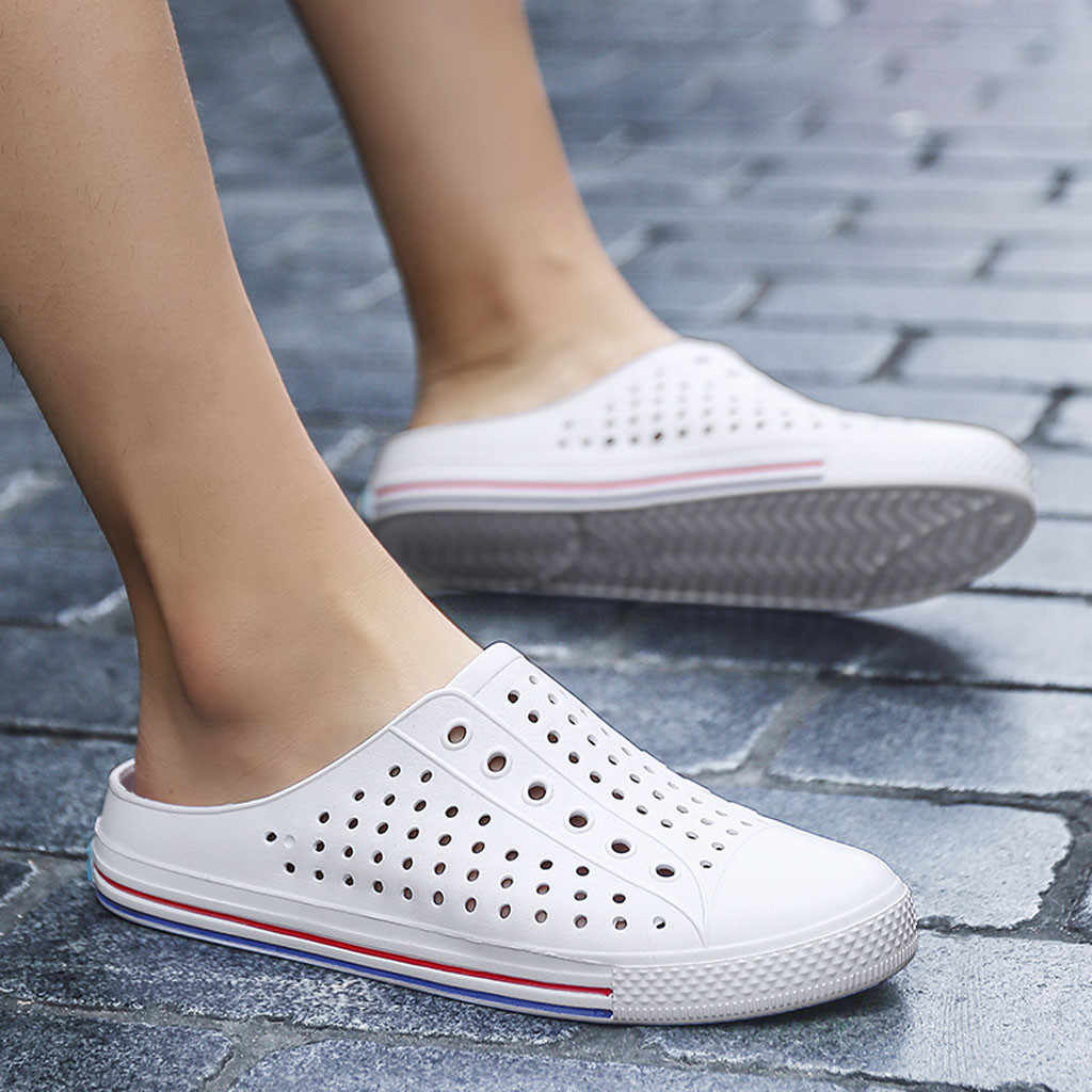YOUYEDIAN vrouwen Flats Zomer Casual Paar Ademende Antislip Licht Slippers Strand Gat slippers summe outdoor # w30