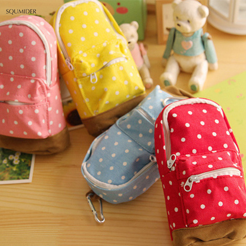 Cute Creative <font><b>Pencil</b></font> <font><b>Cases</b></font> <font><b>Big</b></font> Capacity <font><b>Canvas</b></font> Backpack Polka Dot <font><b>Pencil</b></font> Bag Storage Cosmetic Bags For Girls School Office image