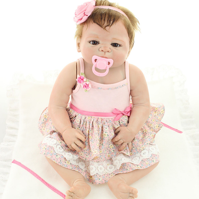 UCanaan Full 50-55CM Silicone Reborn Baby Dolls with Pink Dress Handmade 100% Safe To child Play Not Saft Body Educational Toy